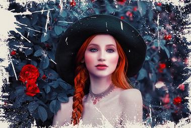 La jeune fille rousse au chapeau vert
