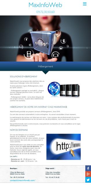 Maxinfoweb - Page hébergement tablette