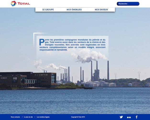 Page d'accueil du site Total