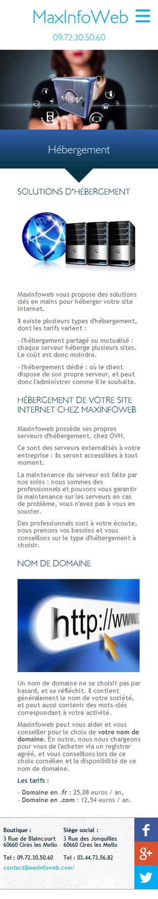 Maxinfoweb - Page hébergement smartphone