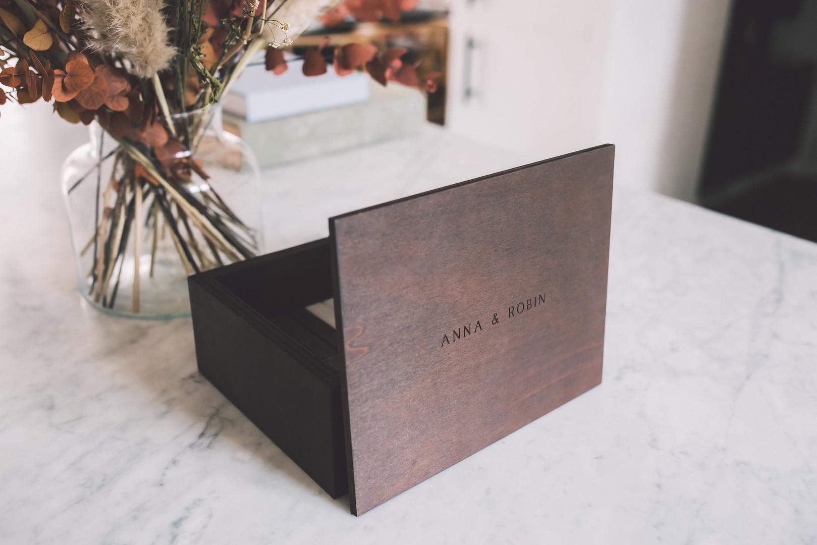 Engraved oak collector box