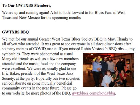 GWTXBS June 2021 Newsletter