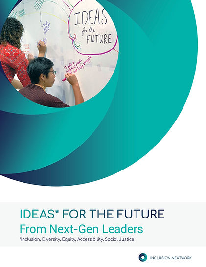 thought paper cover photo with the inw logo and two people writing on a whiteboard in the center. the title reads IDEAS FOr the Future from Next-Gen Leaders.