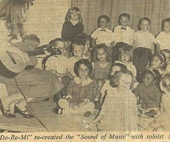 The Sound of Music being performed at Aramco, Ras Tanura, Saudi Arabia in 1967. I'm the girl in the v-neck on the back row. I was too tall to sit in front!