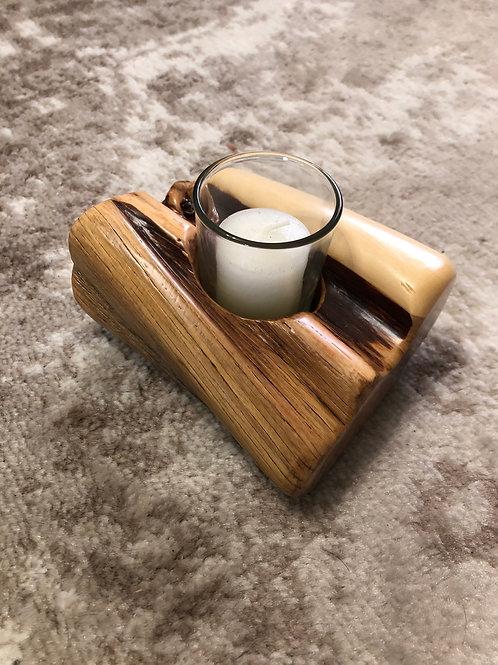 Polished Colorado Juniper Wood candle holder