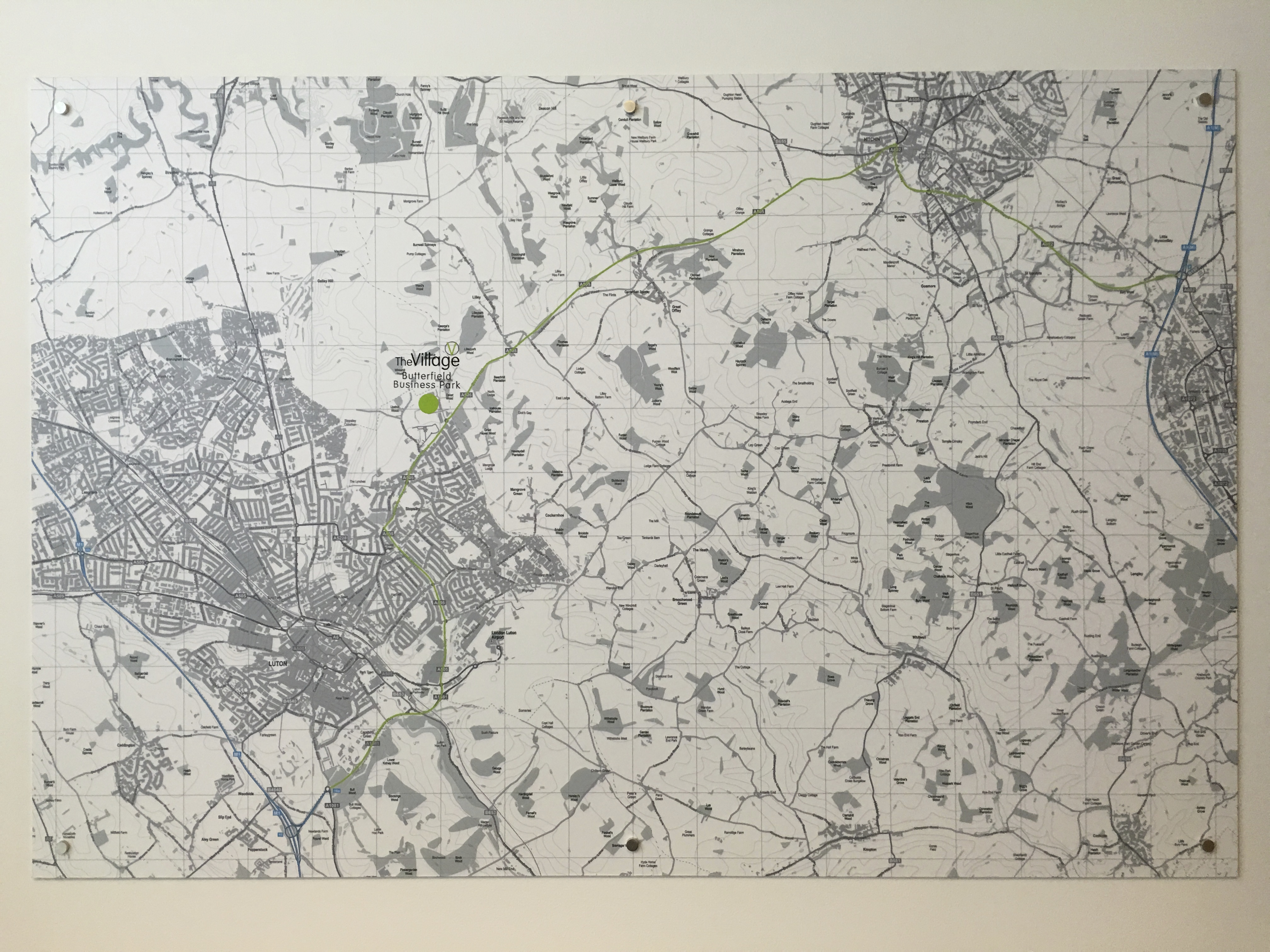 5ft x 4ft Office wall Bespoke Map