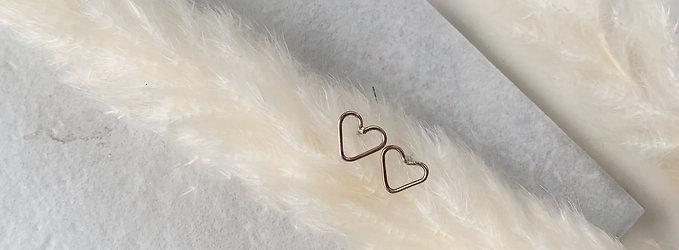 Rose Gold Heart Studs
