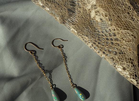 Opal Gold Drop Earrings