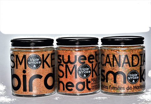 3 Glass Jars of Gourmet Spice Blends-Real Wood Smoked