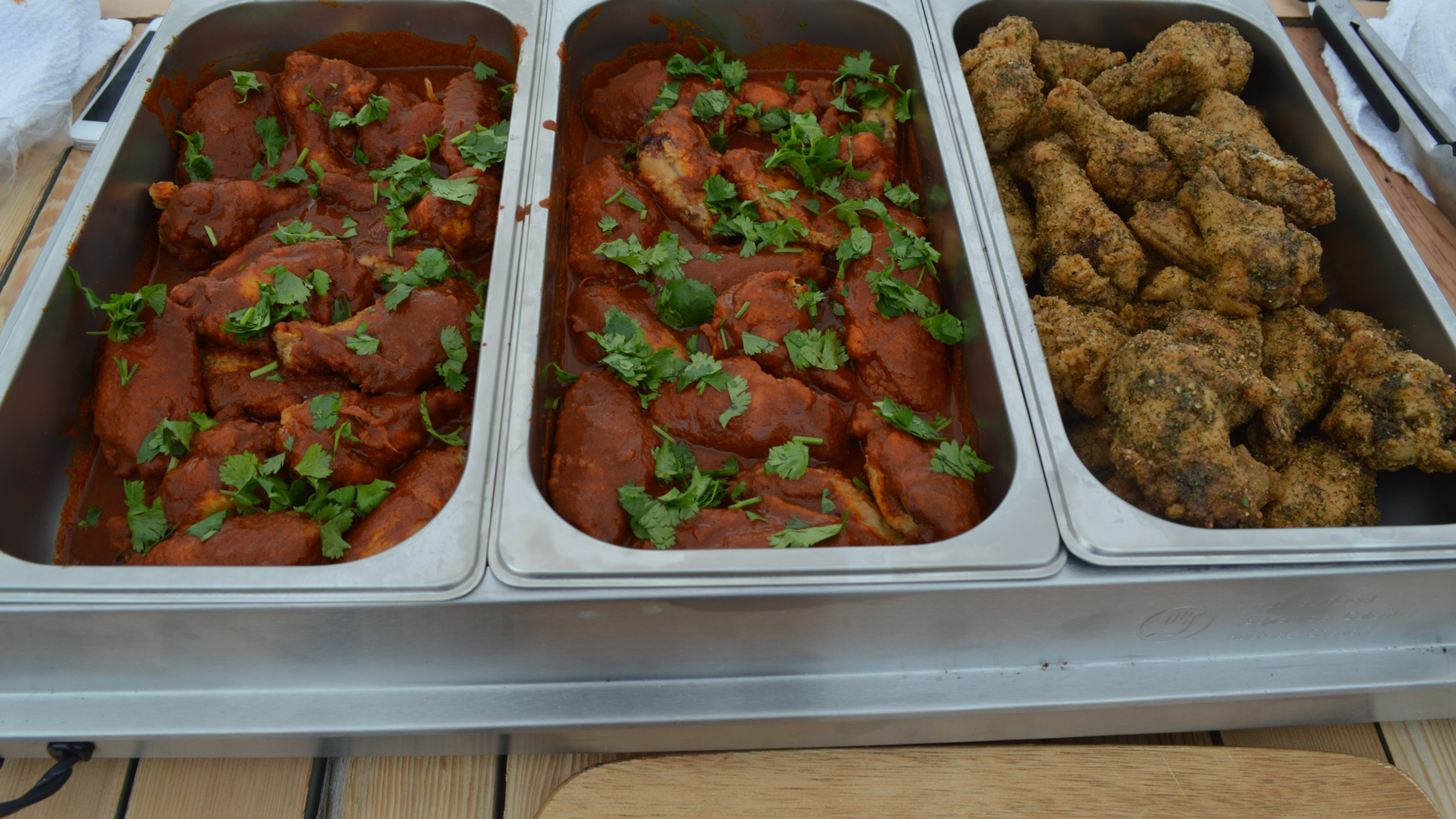 Triple Smoke featuring Pickled Chipotle dry wings, and West Coast Curry (aka Bengal Blend)  Saucy wings!