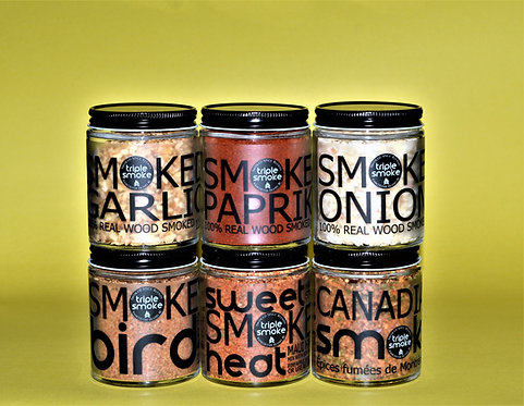 Variety Pack of 6 Glass Real Wood Smoked Spices and Blends