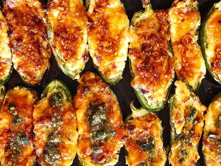 Bacon stuffed Jalapeno Poppers topped with Drizzl