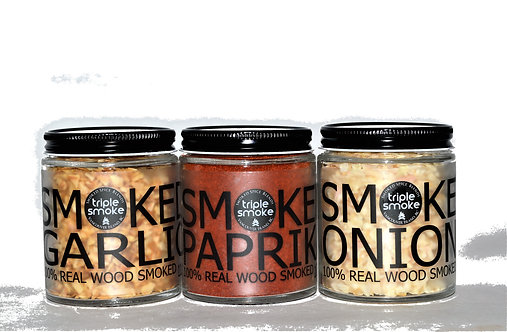 3 Glass Jars of Spices - All Natural - Real Wood Smoked