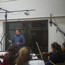Rick conducting a string recording session