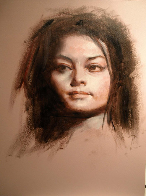 Richard Bober: Woman in Black Portrait Study
