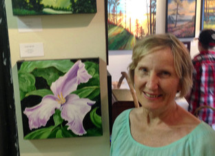 Beside 2 of my little paintings in Creemore