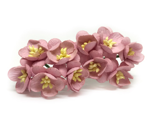 1 mulberry paper cherry blossoms mauve savvi jewels hair beautiful handmade 1 paper flower cherry blossoms with wire stems in a mauve color these mulberry paper flowers are perfect for your diy projects mightylinksfo