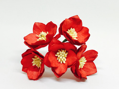 15 mulberry paper cherry blossoms red 25 pieces beautiful handmade 15 paper flower cherry blossoms with wire stems in a red color these mulberry paper flowers are perfect for your diy projects mightylinksfo