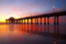 The Manhattan Beach Pier under a beautif