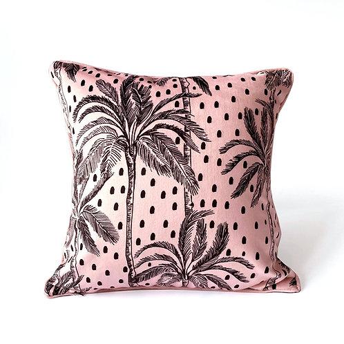 Luxury Polka Palm Velvet Cushion Pink