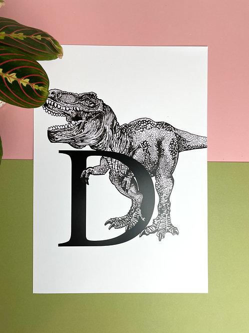 A3 D for Dinosaur Print