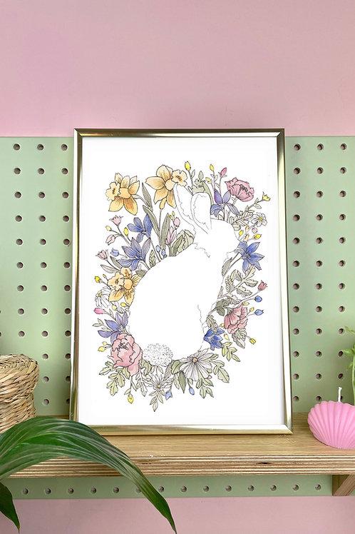 Personalised Botanical Bunny Print