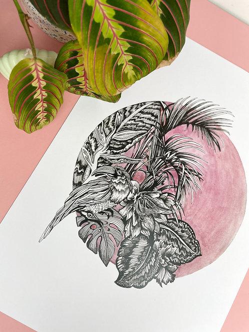 A3 Pink Tropics Print