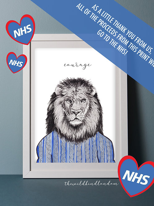 NHS 'Courage' Lion Print