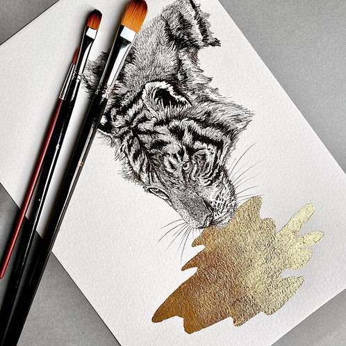 Thirsty Tiger with Gold Leaf