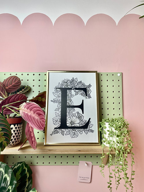 Black & White floral 'E'
