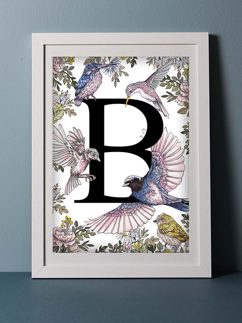 Personalised Pastel Birds Letter Print