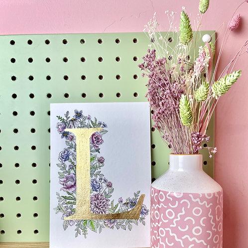 Pastel Letter 'L' - Gold leaf edition