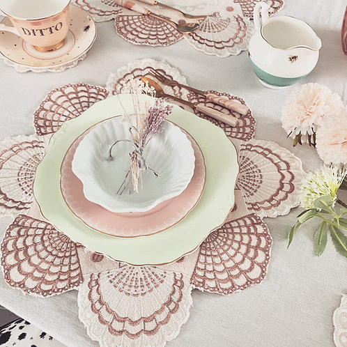 Embroidered Cotton Shell Placemats