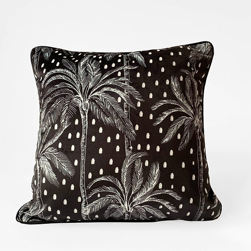 Luxury Polka Palm Velvet Cushion - Black