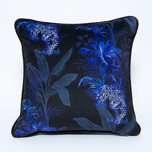 Large Blue Tropics Velvet Cushion