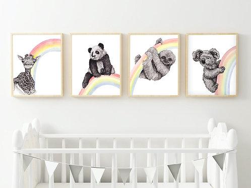 Pack of mini rainbow prints