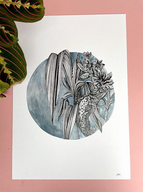 A3 Blue Tropics Print