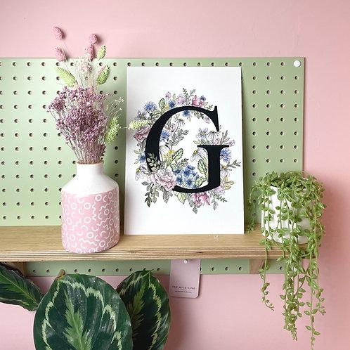 Pastel floral 'G' Art print