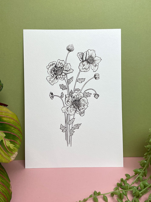 A4 Black and White Floral