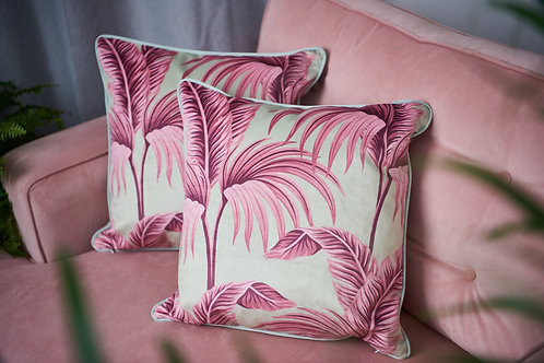 Pastel Palm Velvet Cushion