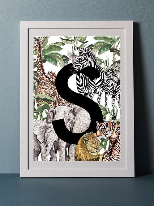 Personalised Safari Letter Print