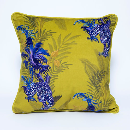 Mustard Jaguar Velvet Cushion