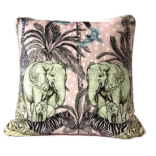 Luxury Pastel Jungle Velvet Cushion