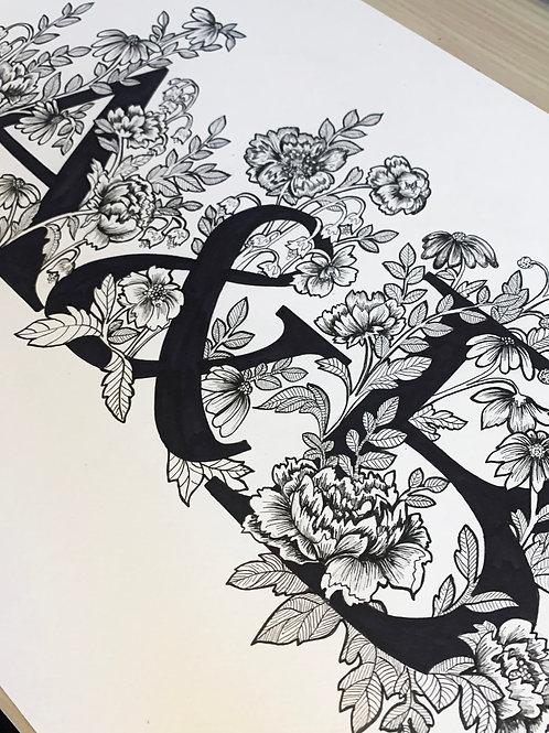 Hand Drawn Black & White initials