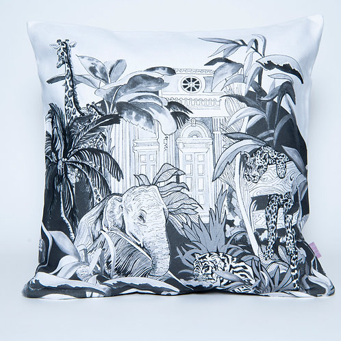 Black & White Indian Jungle Cotton Cushion