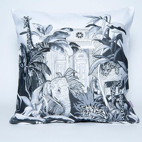 Black & White Indian Jungle Cotton Cushion