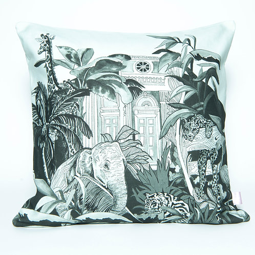 Large Green Indian Jungle Cotton Cushion