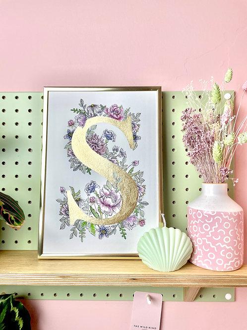 A4 - Pastel Letter 'S' - Gold leaf edition