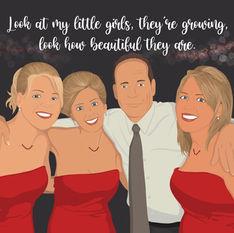 Dad & Daughters Illustration