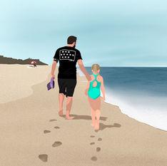 Dad & Daughter Beach Walk